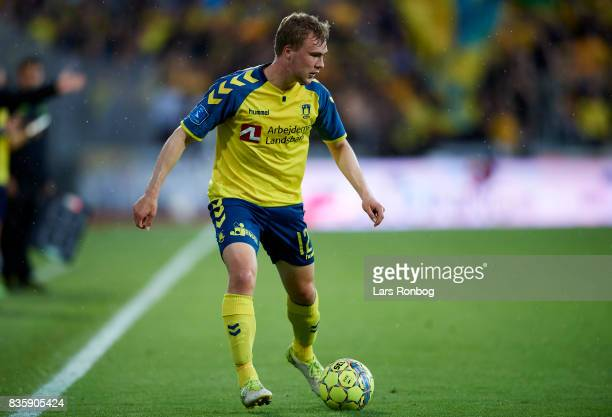 Simon Tibbling of Brondby IF controls the ball during the Danish Alka Superliga match between AGF Aarhus and Brondby IF at Ceres Park on August 20...
