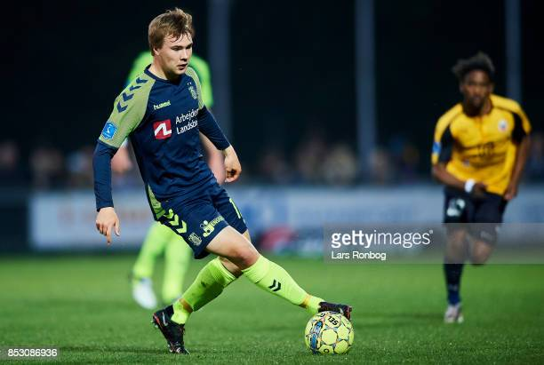 Simon Tibbling of Brondby IF controls the ball during the Danish Alka Superliga match between Hobro IK and Brondby IF at DS Arena on September 24...