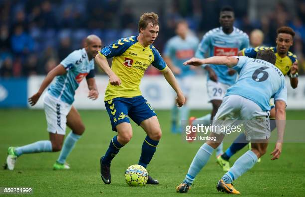 Simon Tibbling of Brondby IF controls the ball during the Danish Alka Superliga match between Brondby IF and Sonderjyske at Brondby Stadion on...