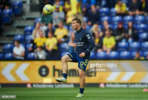 Simon Tibbling of Brondby IF controls the ball during warm up prior to the UEFA Europa League Qual match between Brondby IF and Hajduk Split at...