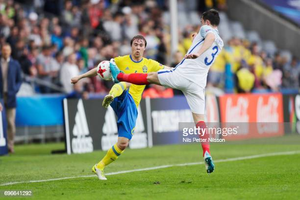 Simon Tibbling of Sweden and Ben Chilwell of England during the UEFA European Under21 Championship match between Sweden and England at Arena Kielce...