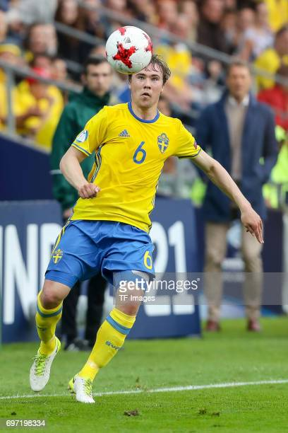 Simon Tibbling of Sweden in action during the UEFA European Under21 Championship match between Sweden and England at Arena Kielce on June 16 2017 in...