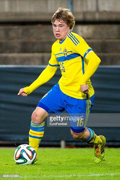 Simon Tibbling of Sweden in action during the UEFA Under21 Championship qualifying match between Sweden and France in Orjans Vall Stadium on October...