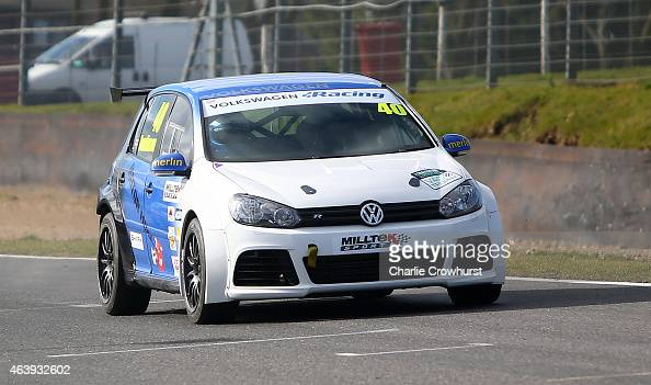 Simon Tomlinson drives his VW Golf during the MotorSport Vision Racing 2015 Media Launch at Brands Hatch on February 18 2015 in Longfield England