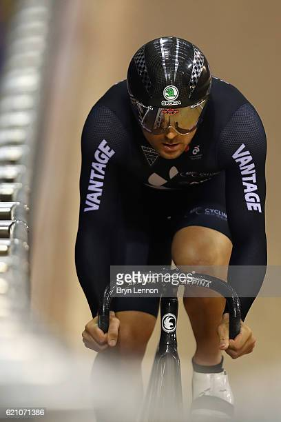 Simon Van Velthooven in action during qualifying for the Men's Sprint on day one of the UCI Track Cycling World Cup at the Sir Chris Hoy Velodrome on...