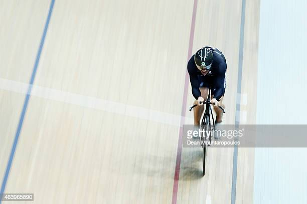 Simon van Velthooven of New Zealand competes in the Mens 1km Time Trial race during day 3 of the UCI Track Cycling World Championships held at...