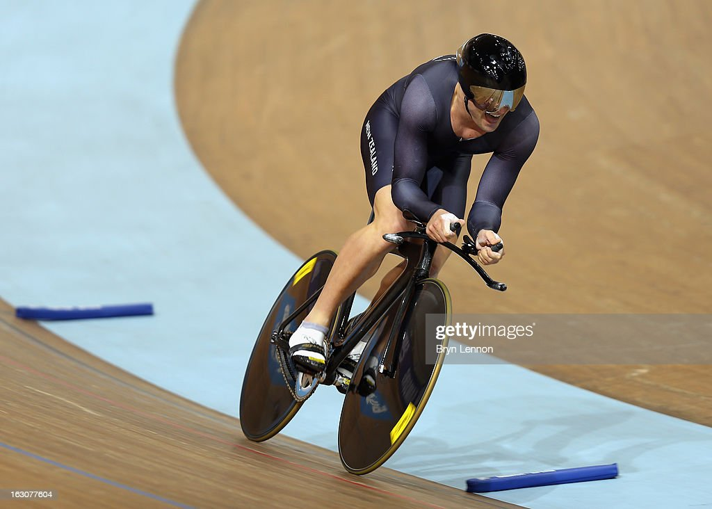 Simon Van Velthooven of New Zealand in action in the Men's 1km Time Trial during day one of the UCI Track World Championships at the Minsk Arena on February 20, 2013 in Minsk, Belarus.