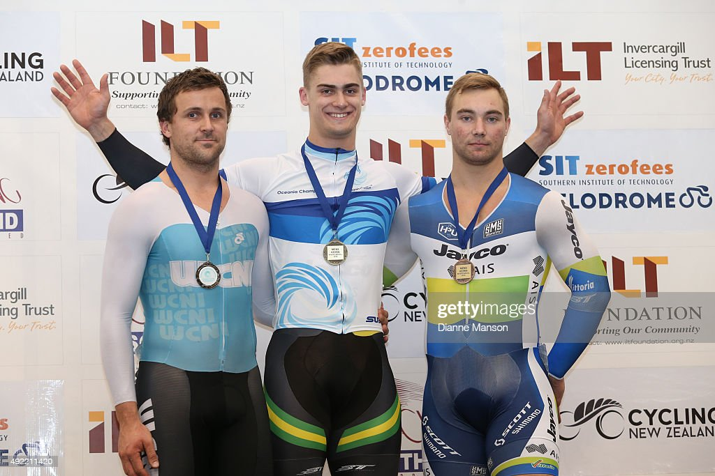 Simon Van Velthooven (Silver) of New Zealand (L), <a gi-track='captionPersonalityLinkClicked' href=/galleries/search?phrase=Matthew+Glaetzer&family=editorial&specificpeople=7592507 ng-click='$event.stopPropagation()'>Matthew Glaetzer</a> (Gold) of Australia (C) and Mitchell Bullen (Bronze) of Australia in the Elite Men Keirin final during the Oceania Track Cycling Championships on October 11, 2015 in Invercargill, New Zealand.