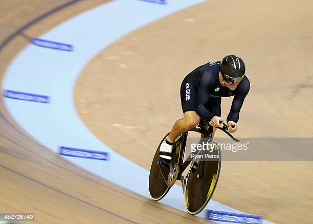 Simon Van Velthooven of New Zealand races in the Men's 1000m Time Trial Final at Sir Chris Hoy Velodrome during day three of the Glasgow 2014...