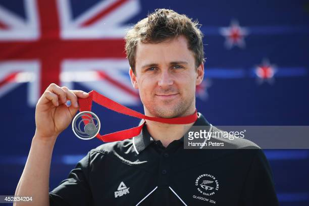 Simon van Velthooven of the New Zealand track cycling team poses with his medal during day five of the Glasgow 2014 Commonwealth Games on July 28...