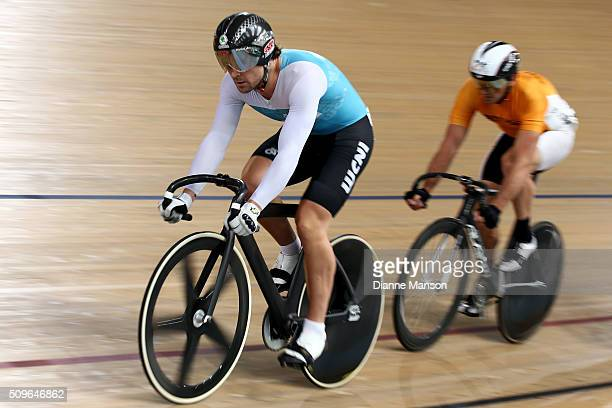 Simon van Velthooven of West Coast North isalnd rides out front in the Elite Men Keirin first round heats during the New Zealand Track National...