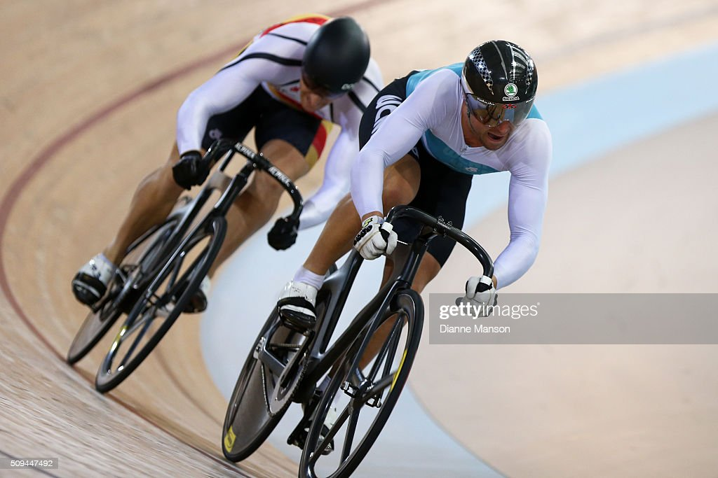 Simon van Velthooven of West Coast North Island competes against Matthew Archibald of Southland in the Elite Men Sprint during the New Zealand Track National Championships on February 11, 2016 in Cambridge, New Zealand.