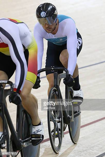 Simon van Velthooven of West Coast North Island competes in the elite Keirin during the BikeNZ Elite U19 Track Championships at the Cambridge...