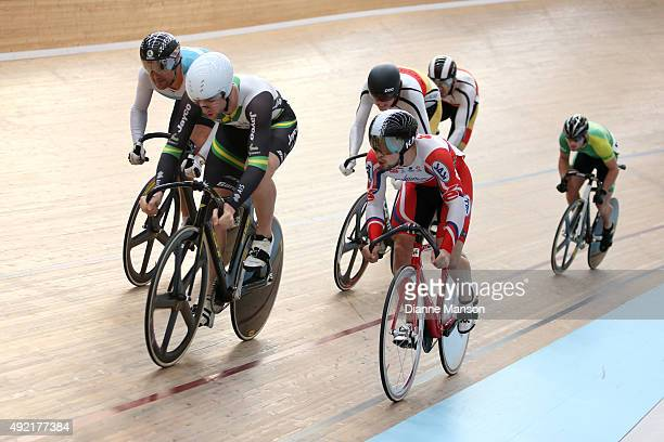 Simon van Velthooven of West Coast North Island Jacob Schmid and Jai Angsuthasawit of Australia out front in the Elite Men Keirin R1 Heats during the...