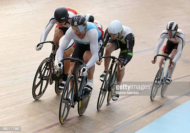 Simon van Velthooven of West Coast North Island out front in the Elite Men Keirin R1 Heats during the Oceania Track Cycling Championships on October...