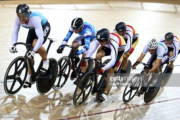 Simon van Velthooven of West Coast North Island Zac Williams of Auckland and Matthew Archibald of Southland ride out front in the Elite Men Keirin...
