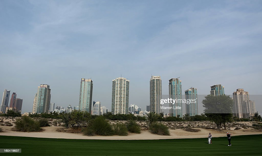 Simon Wakefield of England in action during the first round of the Omega Dubai Desert Classic at Emirates Golf Club on January 31, 2013 in Dubai, United Arab Emirates.