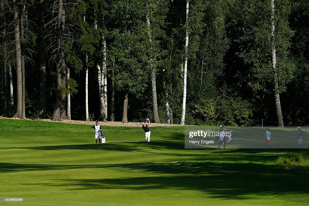 <a gi-track='captionPersonalityLinkClicked' href=/galleries/search?phrase=Simon+Wakefield&family=editorial&specificpeople=212986 ng-click='$event.stopPropagation()'>Simon Wakefield</a> of England plays off the fairway at the fifteenth on day two of the M2M Russian Open at Tseleevo Golf & Polo Club on July 25, 2014 in Moscow, Russia.