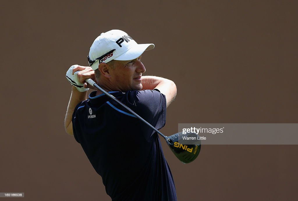 <a gi-track='captionPersonalityLinkClicked' href=/galleries/search?phrase=Simon+Wakefield&family=editorial&specificpeople=212986 ng-click='$event.stopPropagation()'>Simon Wakefield</a> of England tees off on the first hole during the final round of the Trophee du Hassan II Golf at Golf du Palais Royal on March 31, 2013 in Agadir, Morocco.