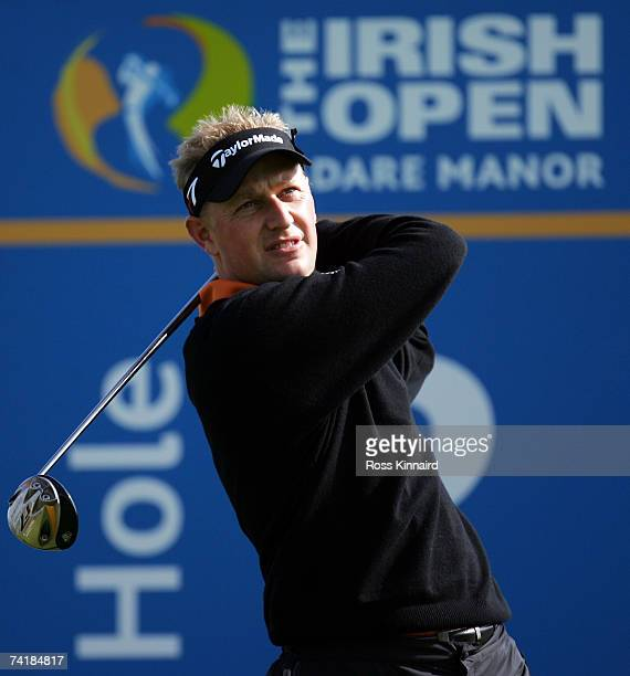 Simon Wakefield of England tees off on the par four 2nd hole during the second round of the Irish Open on May 18 2007 at the Adare Manor Hotel and...