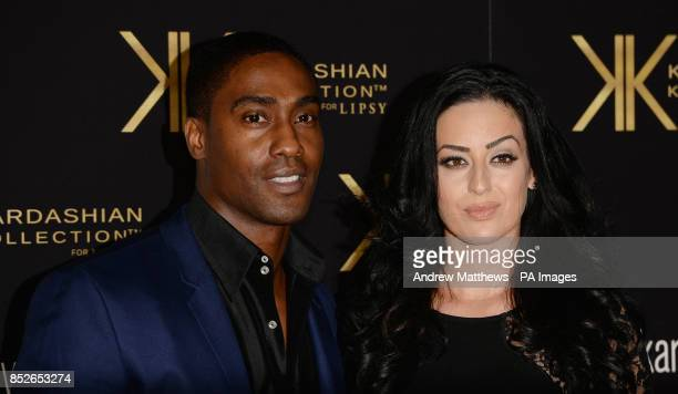 Simon Webbe and girlfriend Maria Koukas attending the Kardashian Kollection For Lipsy launch party at the Natural History Museum London