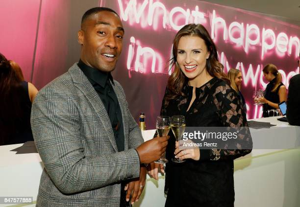 Simon Webbe and Laura Wontorra attend the PreOpening PC Weltstadthaus Koeln on September 15 2017 in Cologne Germany