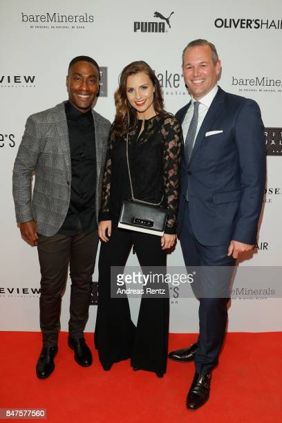 Simon Webbe Laura Wontorra and Dirk Moerchen attend the PreOpening PC Weltstadthaus Koeln on September 15 2017 in Cologne Germany