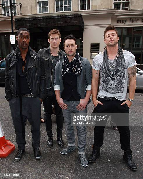 Simon Webbe Lee Ryan Antony Costa and Duncan James of Blue sighted arriving at the Funky Buddha club to promote their entry for the Eurovision Song...