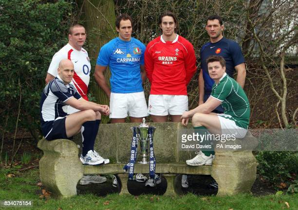 Simon Webster Phil Vickery Sergio Parisse Ryan Jones Lionel Nalleet and Brian O'Driscoll with the RBS 6 Nations trophy during the RBS 6 Nations...