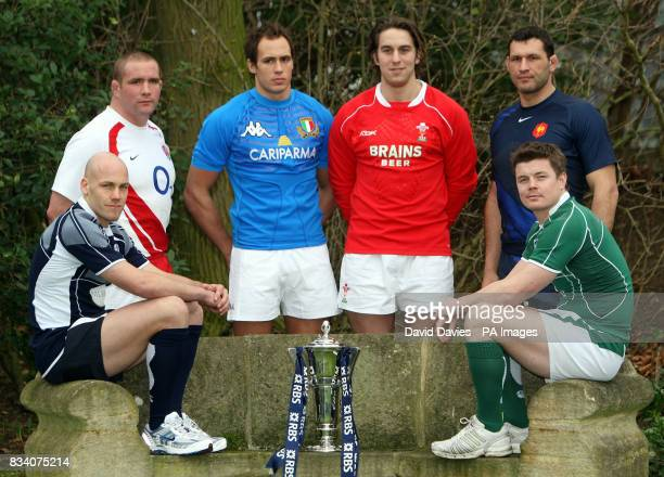 Simon Webster Phil Vickery Sergio Parisse Ryan Jones Lionel Nalleet and Brian O'Driscoll during the RBS 6 Nations Launch at The Hurlingham Club London