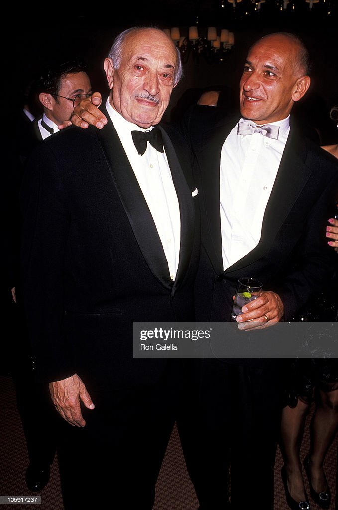 <a gi-track='captionPersonalityLinkClicked' href=/galleries/search?phrase=Simon+Wiesenthal&family=editorial&specificpeople=3954474 ng-click='$event.stopPropagation()'>Simon Wiesenthal</a> and Ben Kingsley during 1989 National Tribute Dinner Hosted By The Simon Weisenthal Center at Century Plaza Hotel in Century City, California, United States.