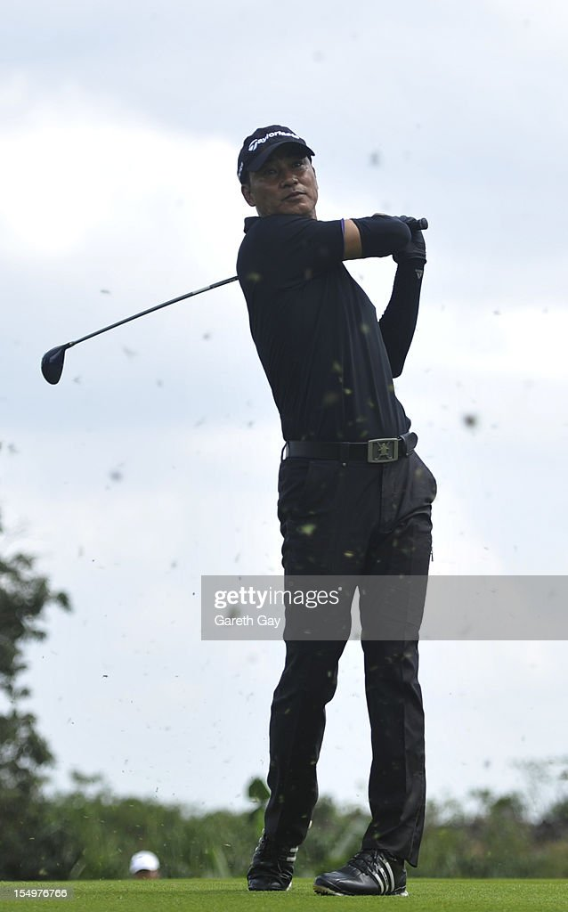 Simon Yam Tat-Wah after teeing off hole 13 on Day 4 of the Mission Hills World Celebrity Pro-Am at Mission Hills Haikou resort on October 21, 2012 in Haikou, China.