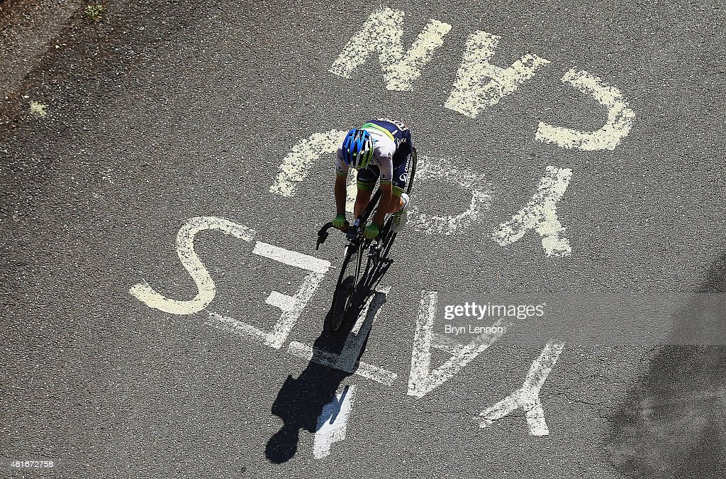 <a gi-track='captionPersonalityLinkClicked' href=/galleries/search?phrase=Simon+Yates+-+Cyclist&family=editorial&specificpeople=13316516 ng-click='$event.stopPropagation()'>Simon Yates</a> of Great Britain and Orica Greenedge during Stage Eighteen of the 2015 Tour de France, a 186.5km stage between Gap and Saint-Jean-de-Maurienne on July 23, 2015 in Gap, France.