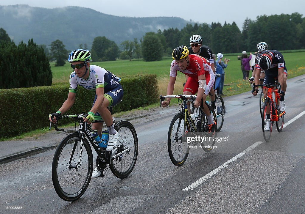 Simon Yates of Great Britain and Orica-GreenEDGE leads out the breakaway during stage eight of the 2014 Le Tour de France from Tomblaine to Gerardmer La Mauselaine on July 12, 2014 in Gerardmer La Mauselaine, France.