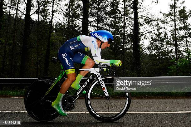 Simon Yates of Great Britain and Team Orica GreenEDGE in action during Stage Six of Vuelta al Pais Vasco on April 12 2014 in Markina Spain