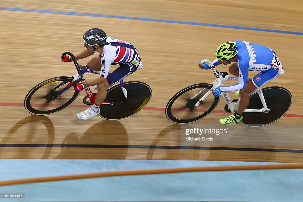 <a gi-track='captionPersonalityLinkClicked' href=/galleries/search?phrase=Simon+Yates+-+Cyclist&family=editorial&specificpeople=13316516 ng-click='$event.stopPropagation()'>Simon Yates</a> (L) of Great Britain on his way to gold in the men's points race during day three of the UCI Track World Championships at Minsk Arena on February 22, 2013 in Minsk, Belarus.