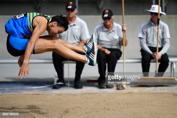 Simon Yung of ACT competes in his U18 Long Jump Decathlon during day four of the 2017 Australian Athletics Championships at Sydney Olympic Park...