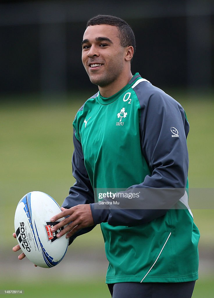 Simon Zebo of Ireland warms up during the Ireland team training session at Onewa Domain on June 5, 2012 in Takapuna, New Zealand.