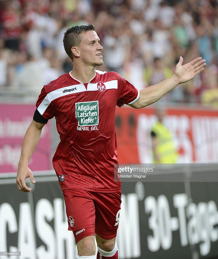 Simon Zoller celebrates after scoring his teams first goal during the second Bundesliga match between 1FC Kaiserslautern and FC Ingolstadt at...