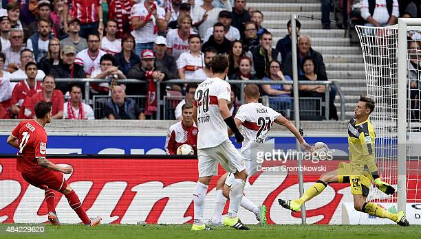 Simon Zoller of 1FC Koeln scores his teams second goal during the Bundesliga match between VfB Stuttgart and 1 FC Koeln at MercedesBenz Arena on...