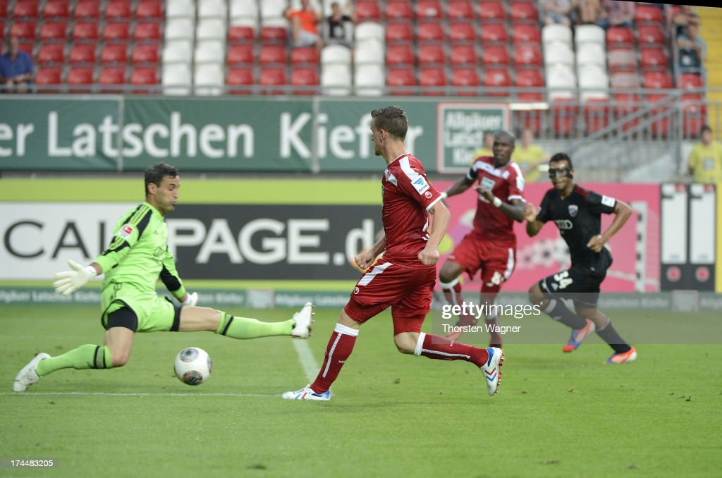 Simon Zoller of Kaiserslautern is scoring his teams first goal during the second Bundesliga match between 1FC Kaiserslautern and FC Ingolstadt at...
