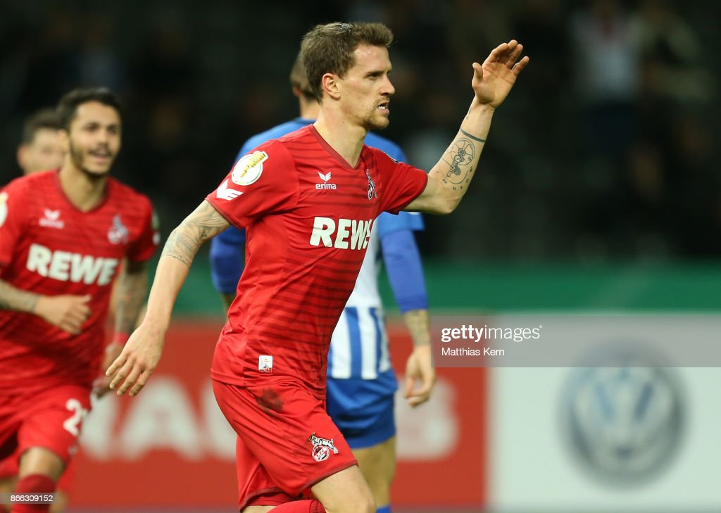 Simon Zoller of Koeln jubilates after scoring the first goal during the DFB Cup match between Hertha BSC and 1. FC Koeln at Olympiastadion on October 25, 2017 in Berlin, Germany.