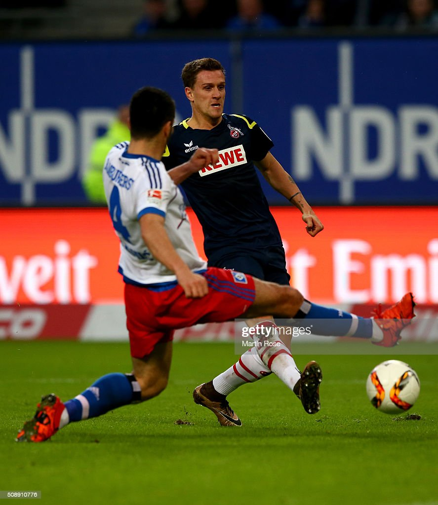 Simon Zoller #11 of Koeln scores the opening goal during the Bundesliga match between Hamburger SV and 1. FC Koeln at Volksparkstadion on February 7, 2016 in Hamburg, Germany.