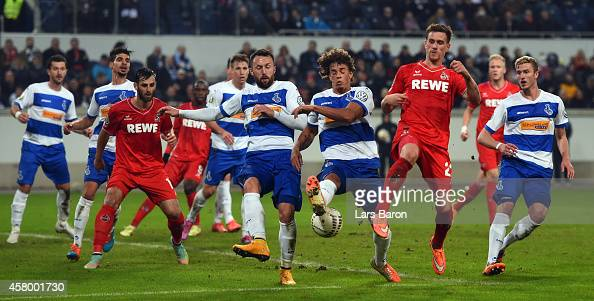 Simon Zoller of Koeln shoots on goal during the DFB Cup second round match between MSV Duisburg and 1 FC Koeln at SchauinslandReisenArena on October...