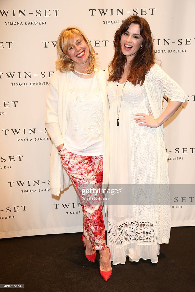 Simona Barbieri and Natalia Avelon pose during the TWINSET Simona Barbieri FlagshipStore Opening Event on March 18 2015 in Munich Germany