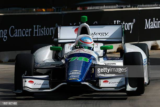 Simona De Silvestro driver of the KV Racing Technology Chevrolet Dallara during the IZOD IndyCar Series Shell and Pennzoil Grand Prix Of Houston Race...