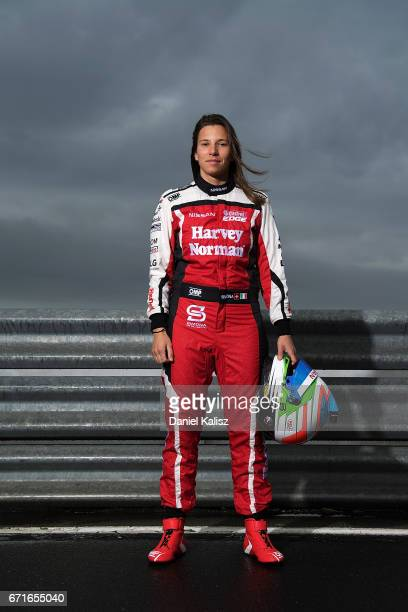 Simona de Silvestro driver of the Team Harvey Norman Nissan Altima poses for a photo during a portrait session during the Phillip Island 500 which is...