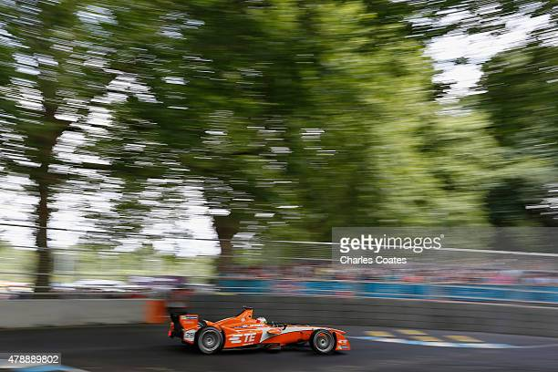 Simona de Silvestro of Switzerland racing in front of a large crowd at Battersea Park Track on June 28 2015 in London England