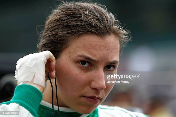 Simona De Silvestro with bandages on her hands after suffering burns from a crash prepares to qualify her Nuclear Clean Air Energy HVM Racing Dallara...