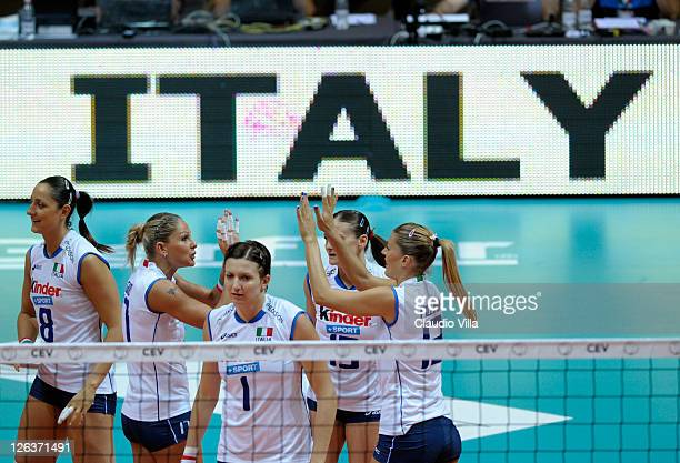 Simona Gioli and Francesca Piccinini celebrate during the women Volleyball European Championship match between Italy and Turkey on September 25 2011...